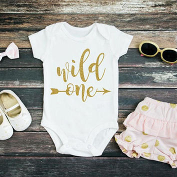 Gold Glitter Wild One - Little Girl Onesuit - One Onesuit - Arrow Body Suit - Baby Shower - Unique gift- Infant Boy - Cute Girls Outfit