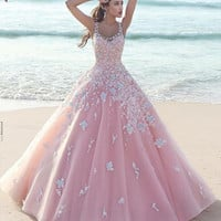 Vestido De Festa Pink Ball Gown Straps Puffy Tulle Arabic Evening Gowns Dresses With Appliques
