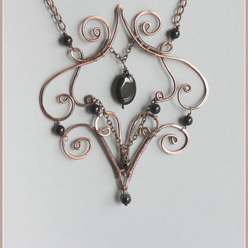 Wire Wrapped Necklace Black Onyx, Copper Wire Necklace Medieval, Wire Wrapped Jewelry Handmade, Copper Jewelry, Copper Wire Jewelry Handmade