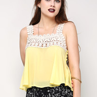 Side-Dot Buttoned Crochet Paneled Top