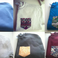 LARGE Custom crew cut sweatshirts with pocket- NEW FABRICS