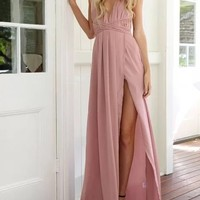 Pink Spaghetti Strap Plunge Thigh Split Open Back Maxi Dress