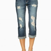 DAKOTA DESTRUCTED PREMIUM JEAN CROPS