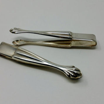 Vintage Silver Plate Sugar Tongs Set of Two Chippendale Design