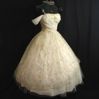 Vintage 1950's 50s Strapless Ivory Gold Tulle by VintageVortex