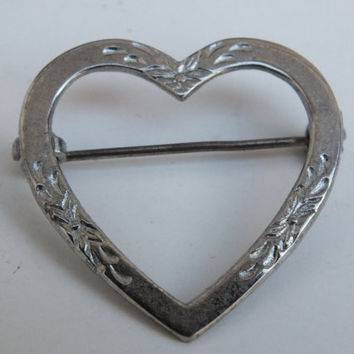 Large Open Heart Pin Brooch With Flower Accents, Sterling Silver, Fine Vintage Precious Metal Ladies Jewelry with Free Shipping and Gift Box