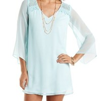 Crocheted Bell Sleeve Shift Dress by Charlotte Russe