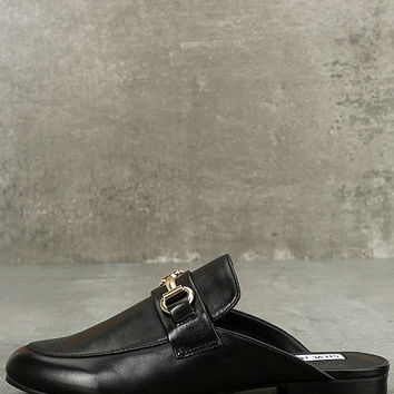 Steve Madden Kandi Black Leather Loafer Slides
