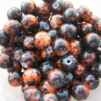 Rusty Brown 8mm round glass beads 58 lot bag jewelry making supplies