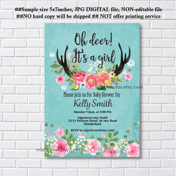Deer Antler baby shower, woodland baby shower invitation,  boho antler, boy baby shower invite - card 1153