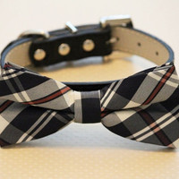 Plaid black dog bow tie attached to collar, Plaid Wedding Accessory