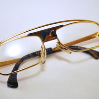Chunky Vintage 80s/90s Alain Mikli Gold Tone Metal And Blue Tortoise Shell Frames/Lenses with Double Bridge.