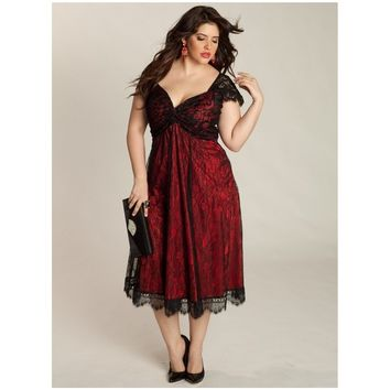 Plus Size Patchwork High Waist Fullskirted Dress Wzc19