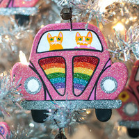 Pink Rainbow Bug Christmas Clay Cat Folk Art Ornament