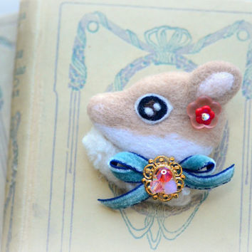 Handmade needle felt deer brooch, jeweled deer brooch, whimsical animal brooch, children jewelry,fawn accessories, gift under 25