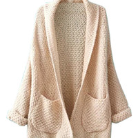 Beige Long Sleeve Knitted Cardigan