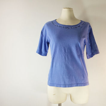 Vintage LL BEAN Women's Cotton Tee Shirt - Embroidered Neckline - Purple Blue - Size S