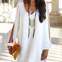 White Chiffon Shift Dress With Slip Sleeves - Choies.com