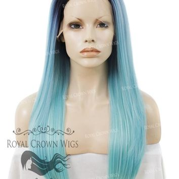 """24"""" Heat Safe Synthetic Straight Texture Lace Front """"Aphrodite"""" in Rooted Powder Blue"""