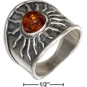 Unisex Sterling Silver Baltic Amber Sun Ring