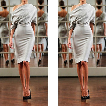 Half Sleeve Women Party Dress Knee-length Fashion = 5739614593