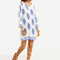 Blue Print in White Long Sleeve Shift Dress -SheIn(Sheinside)