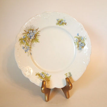 Antique Johnson Bros Blue Floral Plate with Embossed Edges - England - Circa Early 1900's