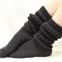 SW0 Basic BLACK Snuggle Bunny super thick slouch sock
