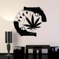 Wall Stickers Vinyl Decal Gun Cards Gambling Drugs Mafia Unique Gift (ig497)
