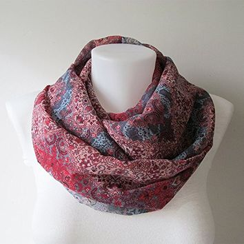 Kilim Pattern Infinity Scarf, Boho Scarf, Red Blue Chiffon Scarf, Women Scarf, Circle Scarf, Fall Winter Spring Summer Fashion, Gift For Her