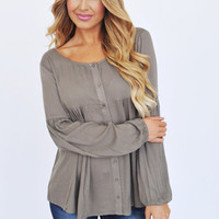 Olive Button Front Blouse