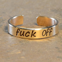 F'ck Off Toe Ring in Bronze or 14k Gold