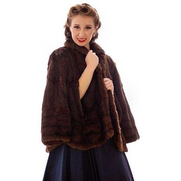 Vintage  Dark Brown Muskrat Fur Convertible  Stole 1940s One Size Fit