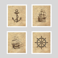 Nautical Prints, Nautical Decor, Vintage Nautical, Ship Prints, Vintage Map, Home Wall Decor, 8x10 Prints, Set of 4 CUSTOMIZE YOUR COLORS