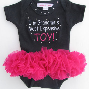 I'm Grandma's Most Expensive TOY! Black Bodysuit with Hot Pink Tutu FREE SHIPPING new baby girl, baby shower gift, baby girl clothing