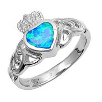 Sterling Silver Wicca Claddagh 12MM Blue Lab Opal Ring