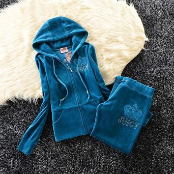 Juicy Couture Studded Simple Logo Crown Velour Tracksuit 31058 2pcs Women Suits Blue