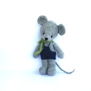 mouse crochet toy cute mouse plushie stuffed animal doll mouse plushie crochet doll grey bluemarine green toy for children skin