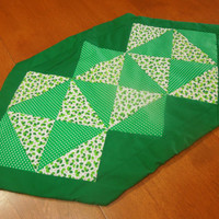 Handmade Green Christmas or Holiday Quilted dresser scarf or table runner for holiday, housewares, home decor by MarlenesAttic