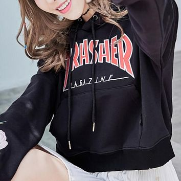 Thrasher Embroidery Rose Cotton Top Sweater Pullover Sweatshirt Hoodie Kangaroo Pocket Black B-A-XCY
