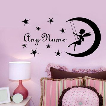 Wall Decal DIY Fairy On Moon Custom Name Vinyl Wall Sticker Personalized Name Decal For Kids Nursery Girls Bedroom Decal YM-144