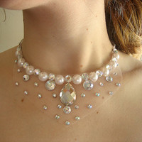 $17.99 Simple Bridal Cream Ivory Pearl and Clear by SparkleBeastDesign