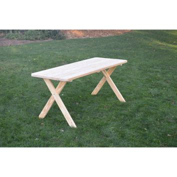 "A & L Furniture Co. Pressure Treated Pine 8' Cross-leg Table Only - Specify for FREE 2"" Umbrella Hole  - Ships FREE in 5-7 Business days"