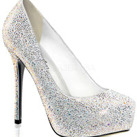 White Suede Rhinestone Pumps