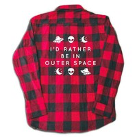 Rather Be In Outer Space Flannel- Red