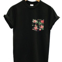 Black Rose Black Pocket T Shirt