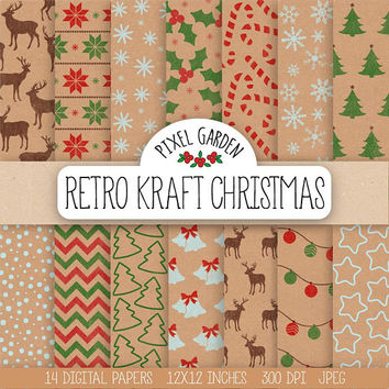 Rustic Christmas Digital Paper. Red, Green Kraft Christmas Scrapbook Paper. Retro Christmas Tree, Reindeer. Vintage Stamp Digital Background