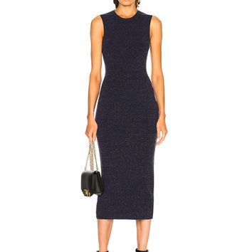 Victoria Beckham Slub Signature Dress in Navy Melange | FWRD