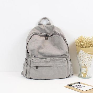 Student Backpack Children casual canvas woman man backpacks solid soft big capacity all match school bag simplicity water wash color students backpack AT_49_3