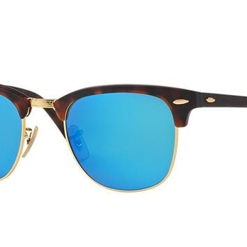 RAY-BAN RB 3016 114517 Clubmaster with Blue Mirrored Lens